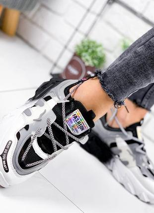 Новые женские черно-белые черные с белым кроссовки8 фото