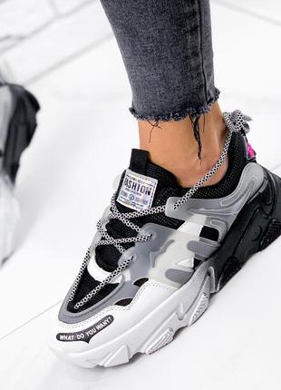 Новые женские черно-белые черные с белым кроссовки9 фото