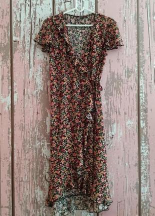 Шикарное платье миди с цветочным принтом, платье с запахом