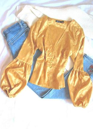 Золотая сатиновая блуза с рукавами-буфами boohoo