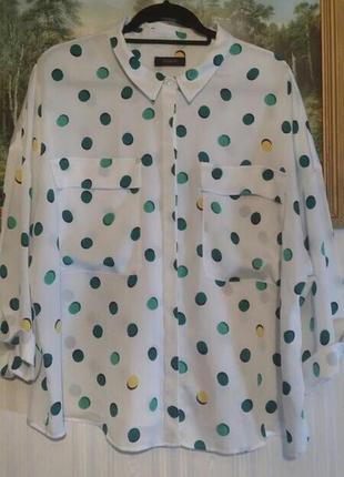 Белая рубашка, блуза крупный горох, размер uk 20