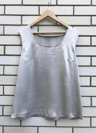 Шелковая серая майка блузка большого размера