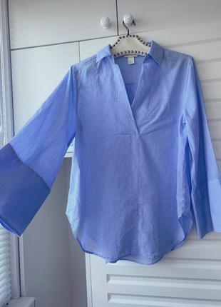 100% хлопок голубая простая рубашка с широкими рукавами s m