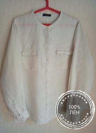 Льняная рубашка с длинным рукавом autograph