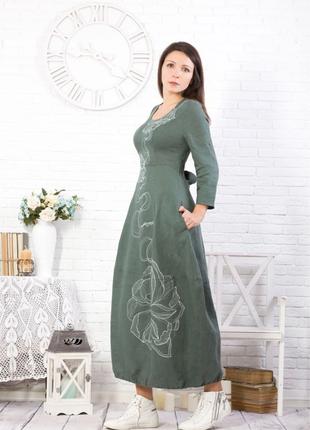 Платье женское звездочка 100% лен, ручная художественная роспись
