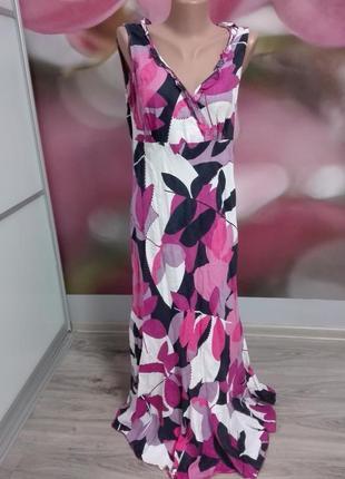 Льняное длинное платье
