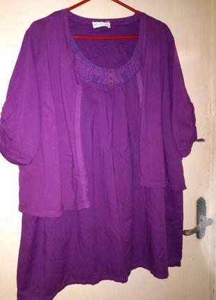 Натуральная-хлопок-трикотаж,комбинированная блузка-обманка,вышивка,большого размера