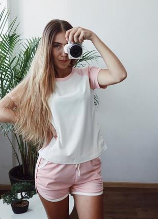 Розовый летний комплект с шортами