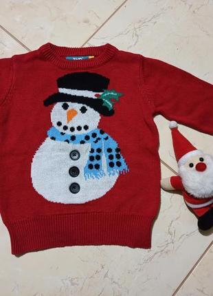 Детский новогодний джемпер кофта со снеговиком  l&cd