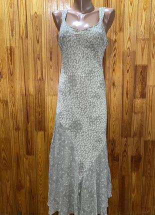 Шёлковое миди платье,оливковое платье,цветочный принт,цветы,платье комбинация