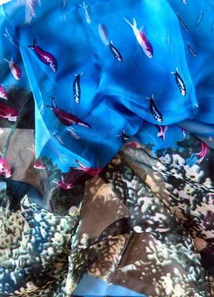 Шифоновое парео «подводный мир». платок .шаль. шарф. палантин. накидка пляжная.