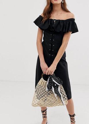 Льняное платье с воланом asos