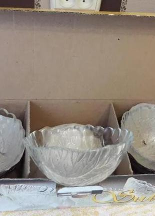 Набор 6 шт салатники креманки пиалы стеклянные с узором sultana pasabache аналог luminarc