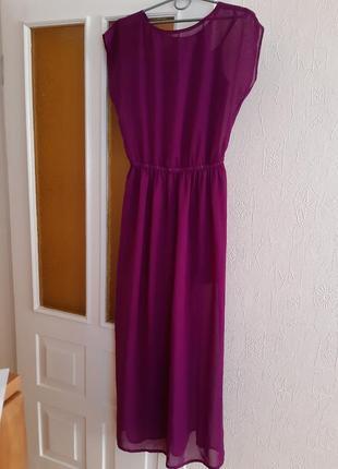 Платье длинное в пол розовое, фуксия шифон
