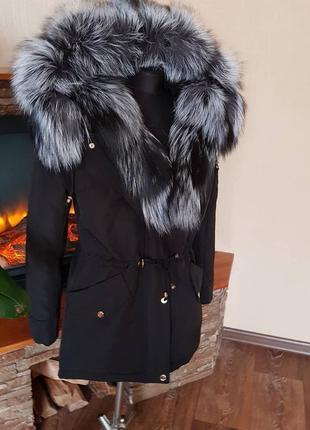 Зимняя куртка с натуральным мехом. зимняя парка с мехом3 фото