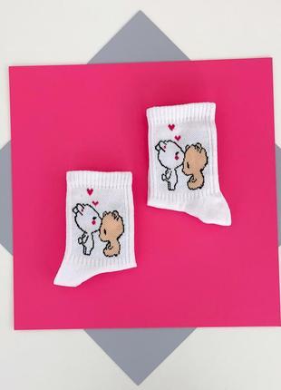 Носочки с мишками шкарпетки socks носки женские молодежные с принтом рисунком