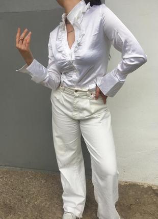 Винтажная белая рубашка/блуза