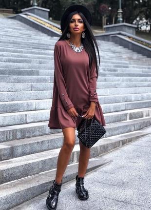 Стильное платье креп-дайвинг 42-44, 46-48 чёрный, мокко, молоко