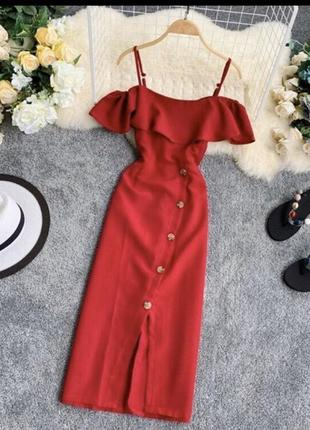 """Очень красивое летнее женское платье миди """"луиза"""" красного цвета код 0071"""
