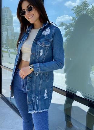 Джинсова куртка джинсовка подовжена