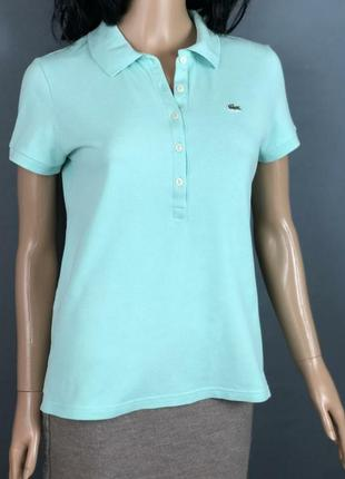 Женское поло от lacoste мятного цвета футболка топ