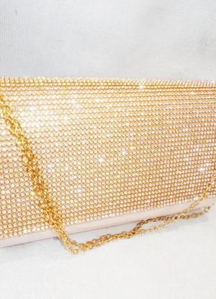 Вечірній белый праздничный вечерний, свадебный весільний клатч сумка невесты золотистый