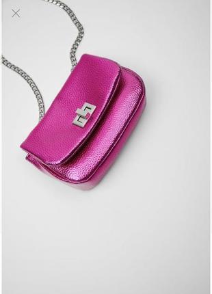 Zara новая яркая мини-сумочка с металлическим блеском