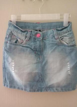 Джинсовая юбка светлый джинс плотный