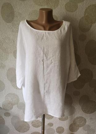 Льняная блуза бохо стиль  разлетайка балдахон  италия