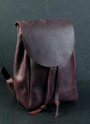 Кожаный рюкзак ручной работы, кожаный рюкзачок, женский рюкзак, винтажная кожа цвет бордо
