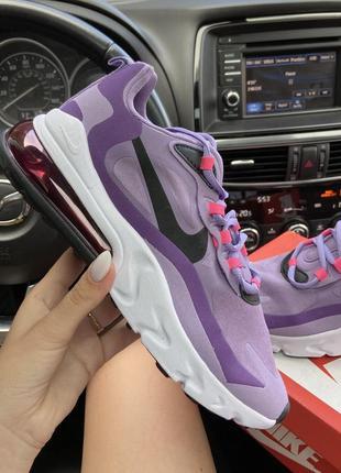 Женские кроссовки nike air max 270 react violet (фиолетовые)