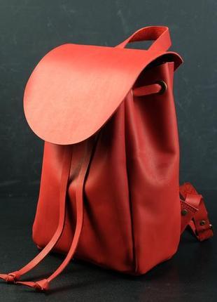 Кожаный рюкзак ручной работы, кожаный рюкзачок, женский рюкзак, кожа винтаж, цвет красный
