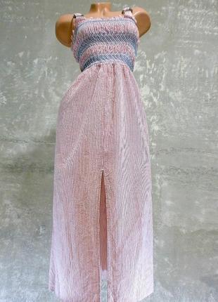Шикарное слегка фактурное хлопковое платьице в красно-белую полоску/миди - индия