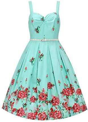 Сарафан летний бирюзовый в розы  платье розочки lindy  bop большой размер