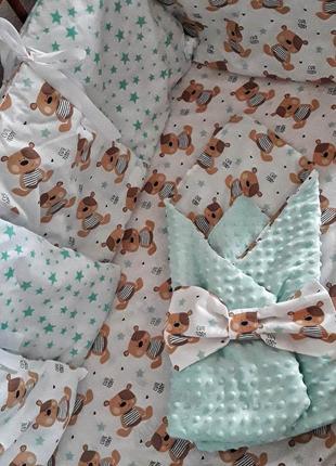 Бортики в кроватку конверт +простинь на резинці