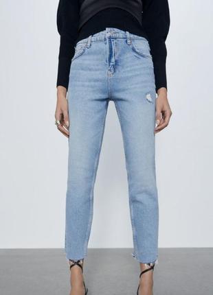 Голубые джинсы slim fit zara premium