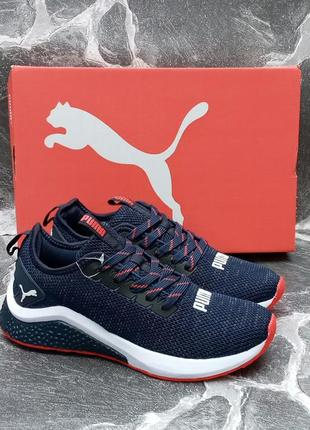 Модные кроссовки puma hybrid синие,сетка,осенние,женские