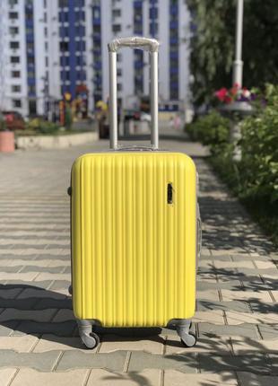 Акция! средний пластиковый чемодан желтый