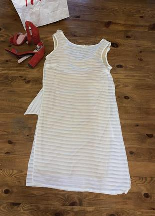 Новое нежнейшее платье сарафан полоска белое платьице платье