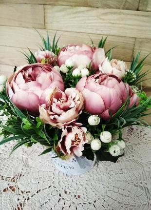 Цветочная композиция, пионы, кашпо flowers and garden, декор для дома