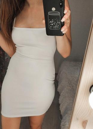 Біла міні сукня / белое мини платье на бретельках
