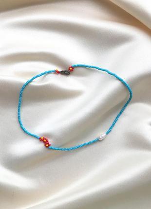 Ожерелье из бисера с натуральным речным жемчугом