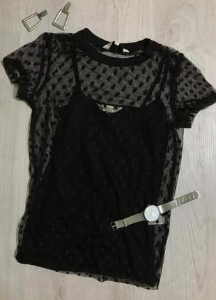 Футболка/маєчка/ блуза від бренду f&f/ сіточка/сіточка в горошок.