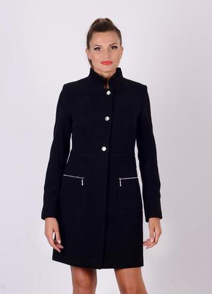 Пальто с воротом стойка черный.харьков мангуст. 42 размер
