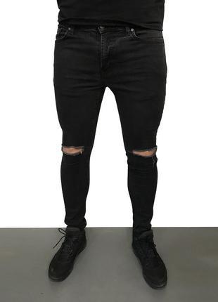 Мужские джинсы с дырками потертостями zara