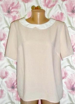 Блуза на короткий рукав футболка топ бежевого цвета с воротником белого цвета