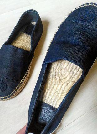 Обувь премиум класса! непревзойденный tory burch, эспадрильи из джинса, денима