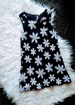 Фатиновое платье на подкладке с принтом вышитые цветы