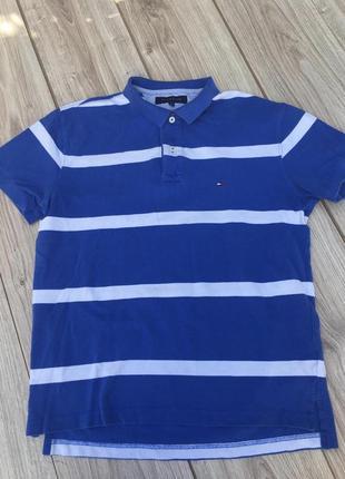 Стильная актуальная футболка поло тенниска tommy hilfiger полосатая в полоску