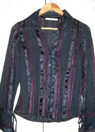 Чёрная блузка с полоской бордо xanaka (франция).